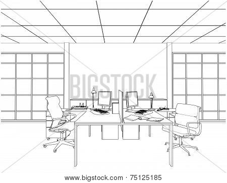 Interior Office Rooms Vector