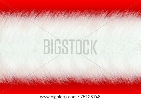 white fur on red background
