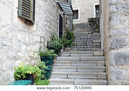 Streets Of Old Town Of Gerceg Novi, Montenegro
