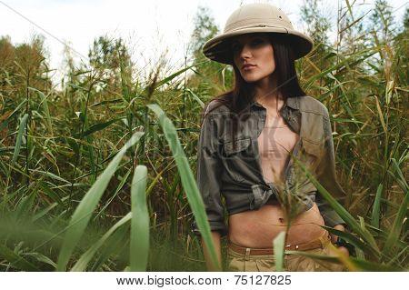 safari woman in swamp