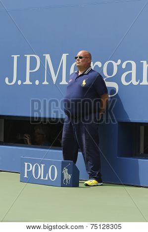 Line judge during match at US Open 2014 at Billie Jean King National Tennis Center