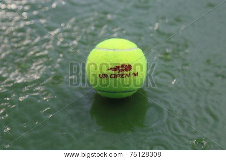 Tennis ball at rain delay during US Open 2014 at Arthur Ashe Stadium