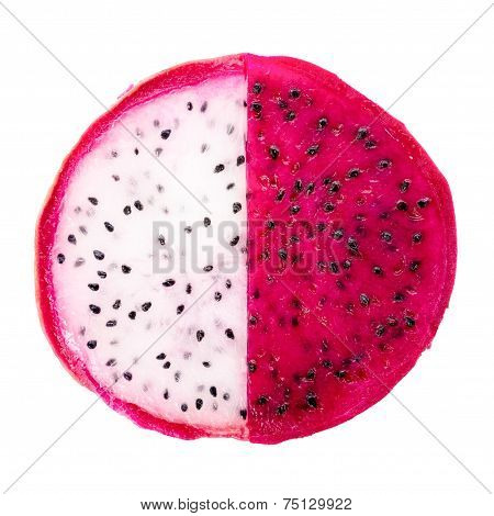 Concept Balance Of Slice Red And White Dragon Fruit, Pitaya Or Cactus Is Isolated On White Backgroun