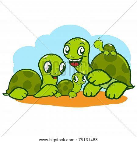 Cute turtle family