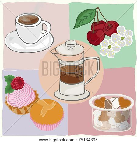 Tea Drinking With Cakes And Sweets