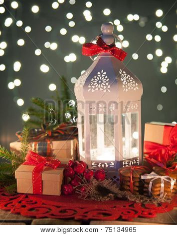 white lantern and christmas decoration