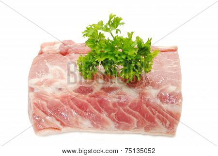 Boneless Raw Pork Roast With Fresh Parsley