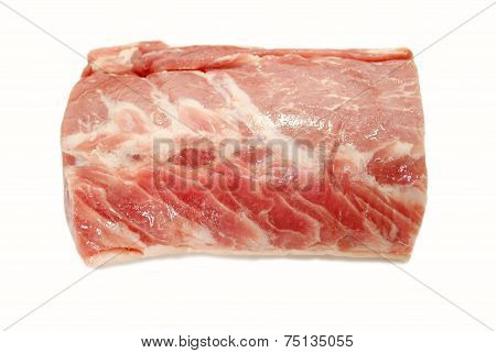 Raw Boneless Organic Pork Roast On White