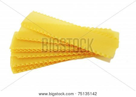 Dried Processed Lasagna Noodles Isolated On White