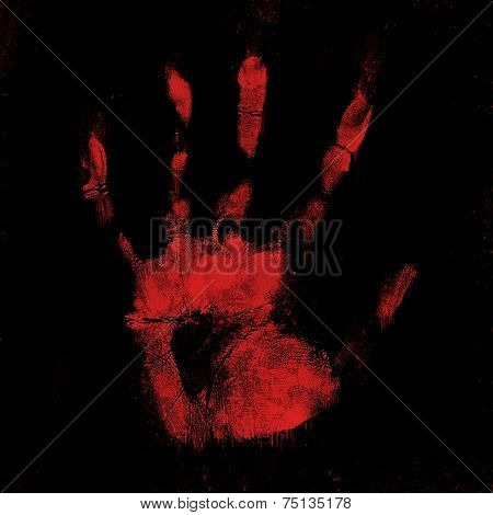 Scary Bloody Hand Print On Black Background