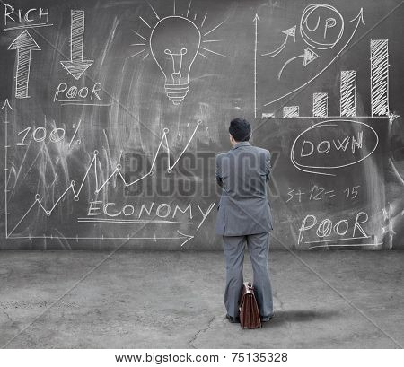 Businessman Looking Financial Diagram