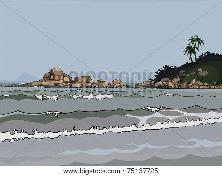 Landscape Gray Sea In The Tropics.eps