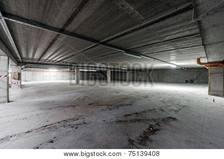 Inside Of Empty Underground Parking