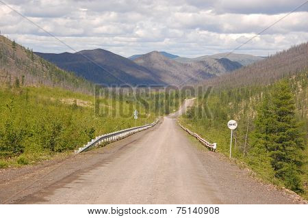 Gravel Road Kolyma To Magadan Highway At Yakutia