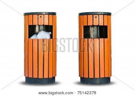 Wood Litter Bin In The Park, Trash Container Isolate