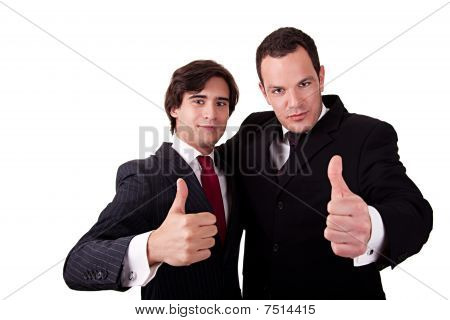 Two Young Businessmen Giving Consent, With Thumb Up