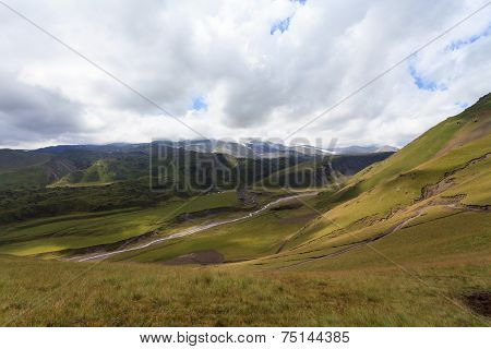 hilly terrain of mountains