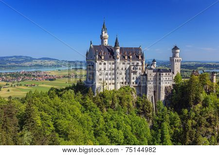 Neuschwanstein Castle in summer time