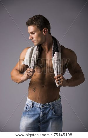 Hunky Male Model Drying Himself With A Towel