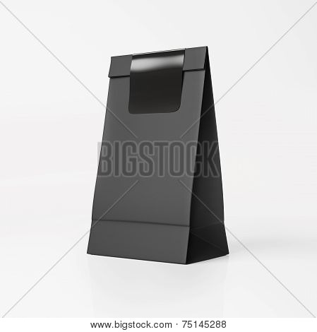 Black Paper Bag With Black Sticker
