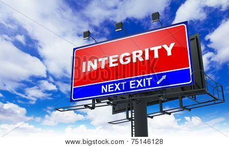 Integrity Inscription on Red Billboard.