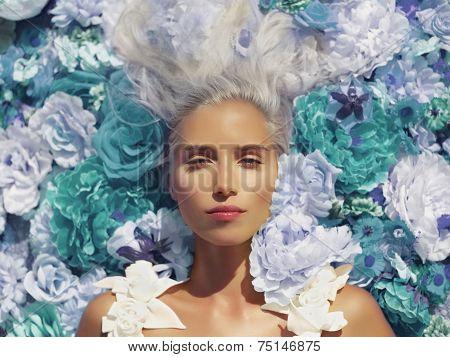 Beautiful Lady Lying In Flowers