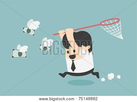 Vector Concept Businessman Trying To Catch Money Fly