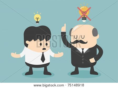 Boss Dislike The Ideas Vector