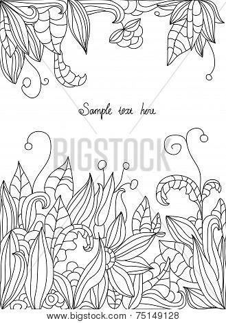 drawings of flowers leaves