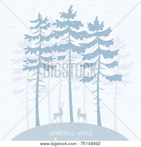 pine and deer