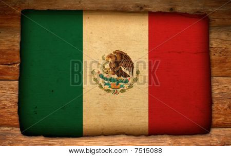 Old Mexico Flag On Antique Wood Backdrop