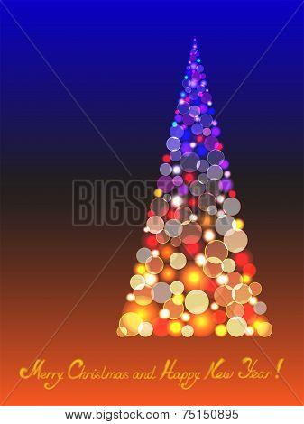 Christmas tree with shiny blur bokeh lights