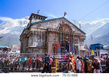Pilgrims at the Kedarnath Temple, India.