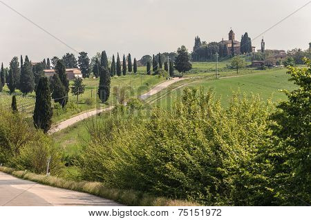 Tuscany Valley With Single Lane Road