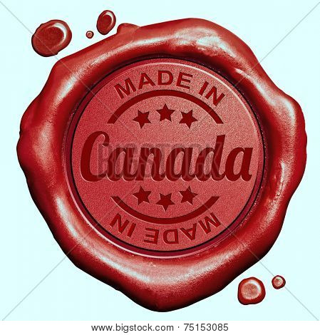Made in Canada red wax seal or stamp, quality label