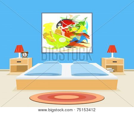 Bedroom Background. Vector Illustration
