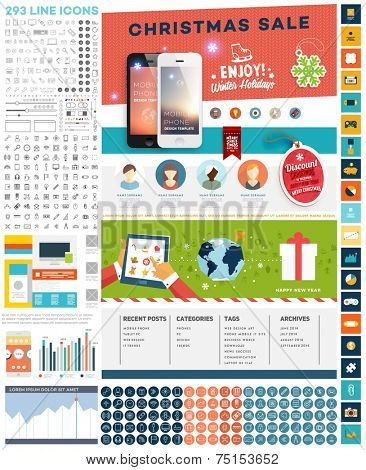 One Page Website Template with UI Elements kit and Flat Design Concept Icons. Mobile Phones and Christmas Decorations. Set of Forms, Dividers, Borders and Buttons. Business Style. 300+ Line Icons
