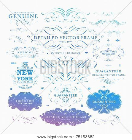 Set of Retro Vintage Insignias and Logotypes. Business Signs, Logos, Identity Elements, Labels, Badges, Frames, Borders and Floral Design Elements. Modern Colors Version