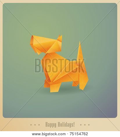 Happy Holidays! Greeting card. Origami dog - present