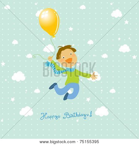 Vector happy birthday fun greeting card. Boy jumping with balloon. Sky with clouds.
