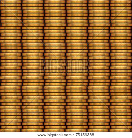 Columns of metal coins pattern