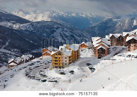 Ski resort in the alps, Valmeinier