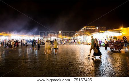Djemma El Fna At Night. The Main Market Square In Marrakesh