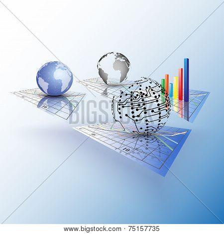 Set of Progressive charts. Abstract vector illustration