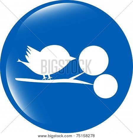 Bird Glossy Web Icons, App Button Isolated On White Background