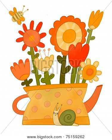 Decorative bouquet of flowers in a vase. stylized image.
