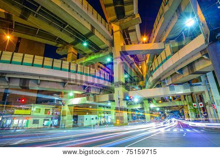 Tokyo, Japan cityscape and expressway junction.