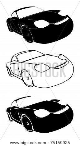 Set Of Racing Cars - Stock Illustration