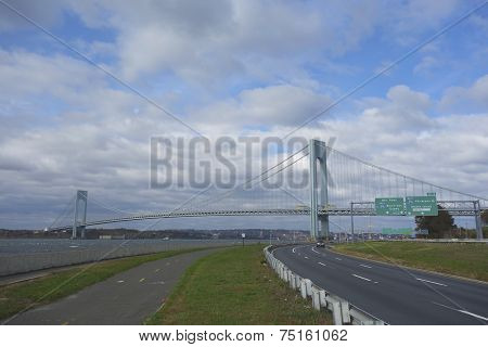 Belt Parkway with bicycle and pedestrian path or Greenway near Verrazano Bridge in Brooklyn