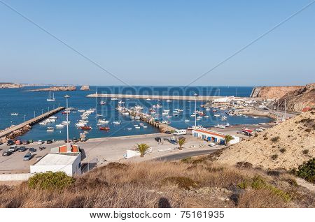 View Of Old Port In Sagres With Traditional Fishing Boats